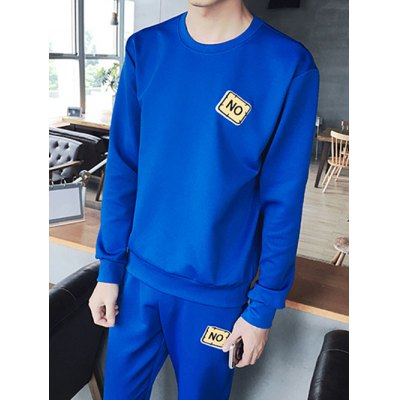 Plus Size Round Neck Applique Long Sleeve Sport Suit ( Sweatshirt + Pants ) For MenPlus Size Outerwear<br>Plus Size Round Neck Applique Long Sleeve Sport Suit ( Sweatshirt + Pants ) For Men<br><br>Clothes Type: Others<br>Style: Fashion<br>Material: Cotton,Polyester<br>Collar: Round Collar<br>Clothing Length: Regular<br>Sleeve Length: Long Sleeves<br>Season: Fall,Spring<br>Weight: 1.050kg<br>Package Contents: 1 x Sweatshirt  1 x Pants