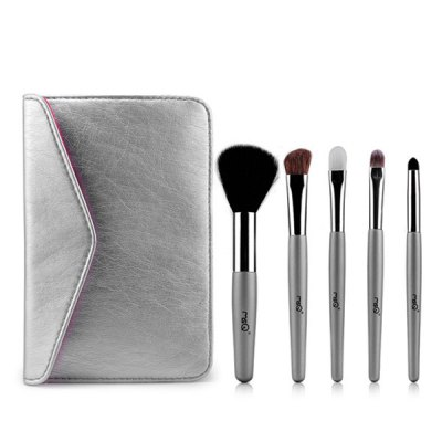 5 Pcs Goat Hair Horsehair Facial Eye Makeup Brushes Set with Storage Package