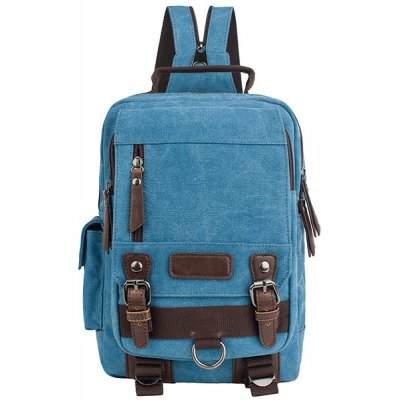 Leisure Canvas and Double Buckle Design Backpack For Men