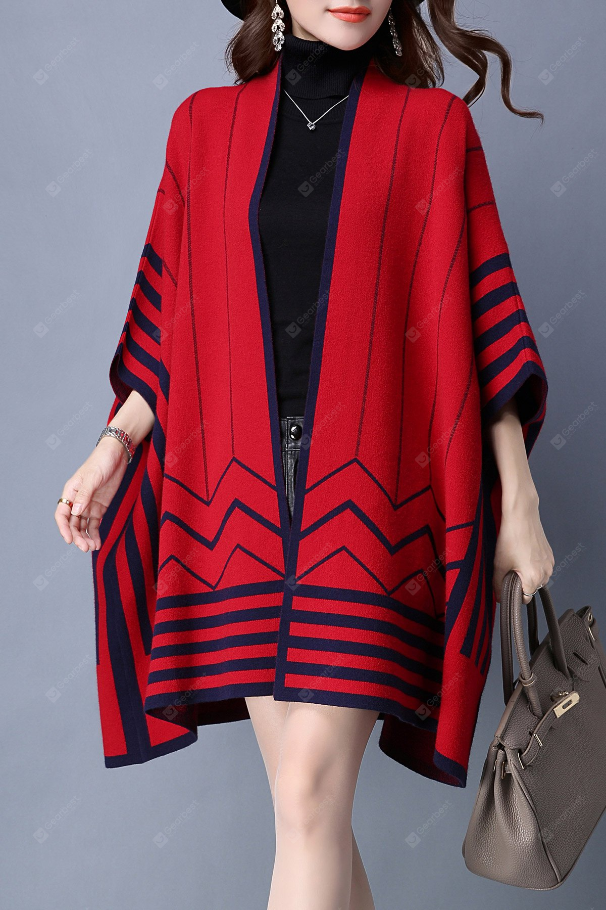 Striped Batwing Sleeve Cape Cardigan L RED