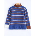 Fashionable Turtle Neck Striped Sweater