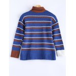 cheap Fashionable Turtle Neck Striped Sweater