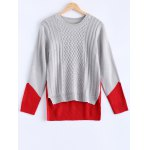 Fashionable Color Block Asymmetric Sweater