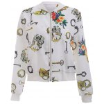 Buy Floral Printed Long Sleeve Stand Collar Bomber Jacket L WHITE