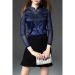 Lace and See-Through Spliced Tee
