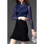 Lace and See-Through Spliced Tee for sale