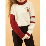 cheap Casual Round Collar Basketball Embroidered Women's Sweater
