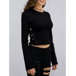 Fashion Round Neck Long Sleeve Lace Up Cropped Sweatshirt For Women