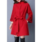 Stand Collar Embroidered Belted Cardigan deal