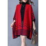 Buy Striped Batwing Sleeve Cape Cardigan XL RED