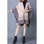 Striped Batwing Sleeve Cape Cardigan deal