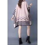 cheap Striped Batwing Sleeve Cape Cardigan