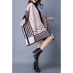 best Striped Batwing Sleeve Cape Cardigan