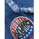 Stylish Badge Spliced Ripped Bleach Wash Cropped Denim Jacket deal