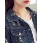 best Fashionable Buttoned Broken Hole Women's Denim Jacket