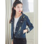 cheap Fashionable Buttoned Broken Hole Women's Denim Jacket