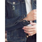 Fashionable Buttoned Broken Hole Women's Denim Jacket photo
