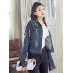 Fashionable Buttoned Broken Hole Women's Denim Jacket deal