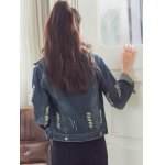 Fashionable Buttoned Broken Hole Women's Denim Jacket for sale