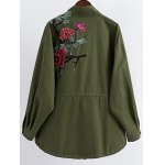 cheap Stand Neck Rivet Embroidered Patchwork Coat