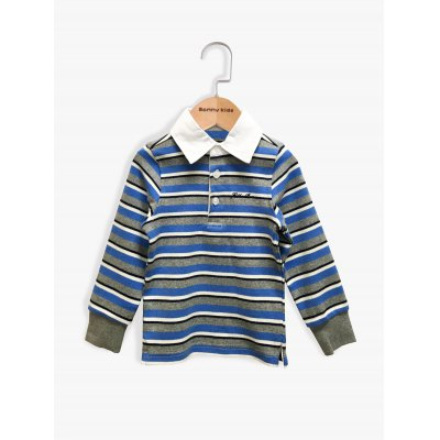 Striped Splicing Design Long Sleeve Polo T-Shirt