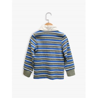 Striped Splicing Design Long Sleeve Boy's Polo T-Shirt