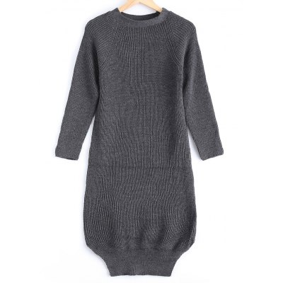 Women's Street Snap Style Pure Color Long Sweater