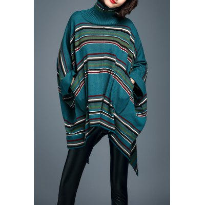 Turtleneck Stripe Batwing Sleeve Sweater