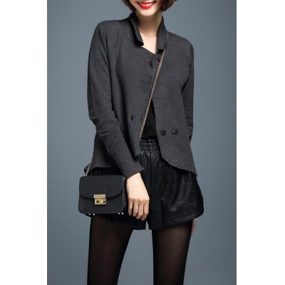 Asymmetric Slit Long Sleeve Cardigan