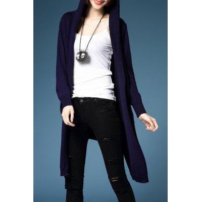 Hooded Asymmetric Long Sleeve Cardigan