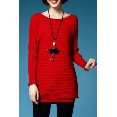 Solid Color Long Sleeve Long Sweater