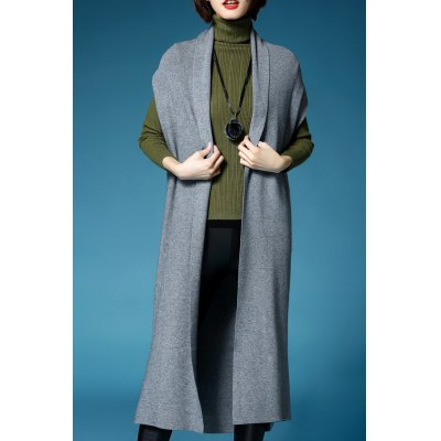 Short Sleeve Solid Color Long Cardigan