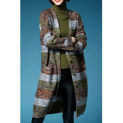 Plunging Neck Colormix Long Sleeve Long Cardigan