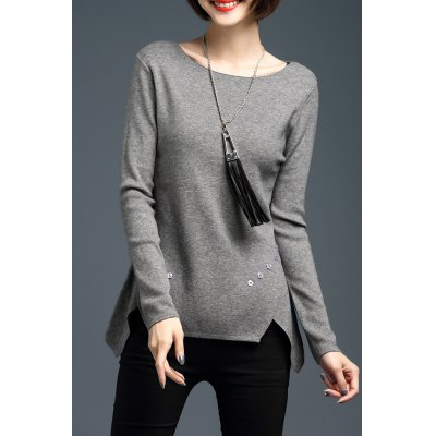 Buttoned Asymmetric Long Sleeve Sweater