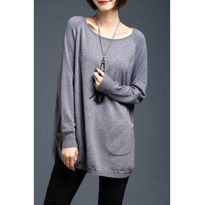 Loose Side Button Long Sleeve Sweater