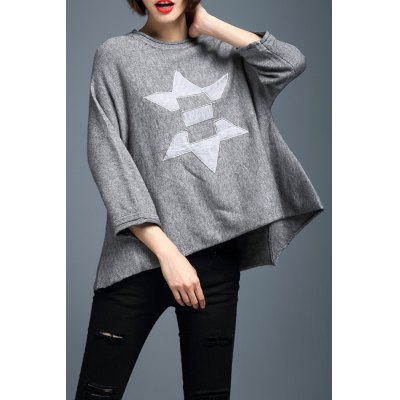 Applique High Low 3/4 Sleeve Sweater