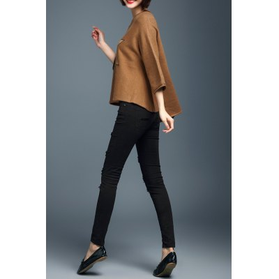 Applique 3/4 Sleeve High Low Sweater