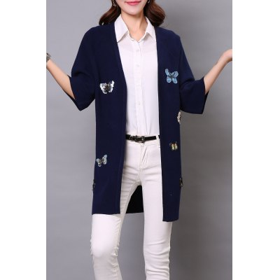 Sequin Butterfly Long Cardigan