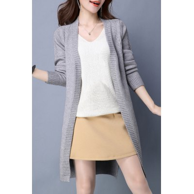Slit Cable Knit High Low Cardigan