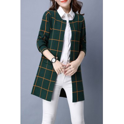 Plaid Straight Long Sleeve Cardigan