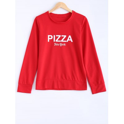 Active Pizza Letter Loose-Fitting Sweatshirt
