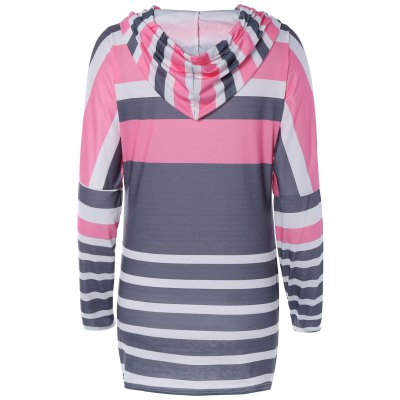 Fashionable Long Sleeve Color Block Hoodie For Women