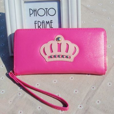 Casual Color Block and Crown Pattern Design Wallet For Women