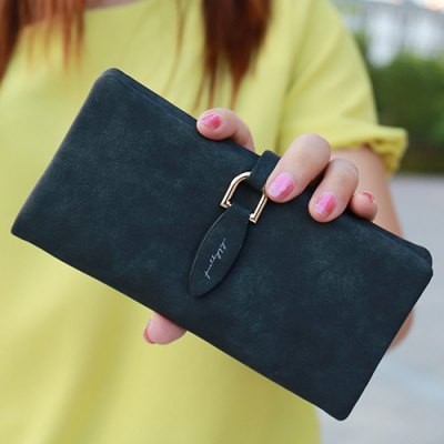 Leisure Metal and PU Leather Design Wallet For Women