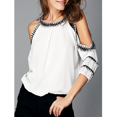 Cut Out Fringed Splicing Women's Blouse