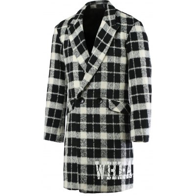 Trendy Lapel Collar Black and White Checked Coat For Men