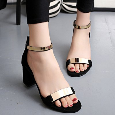 Concise Metal and Zipper Design Sandals For Women