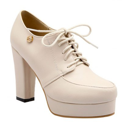 Simple Lace-Up and Chunky Heel Design Pumps For Women