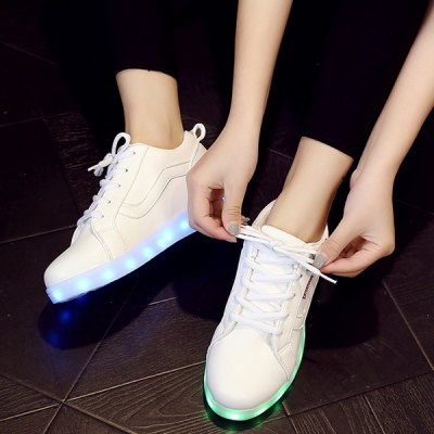 Trendy White and Lights Up Led Luminous Design Athletic Shoes For Women