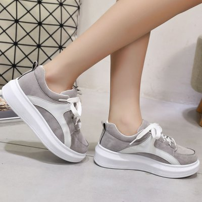 Preppy Colour Splicing and Suede Design Athletic Shoes For Women